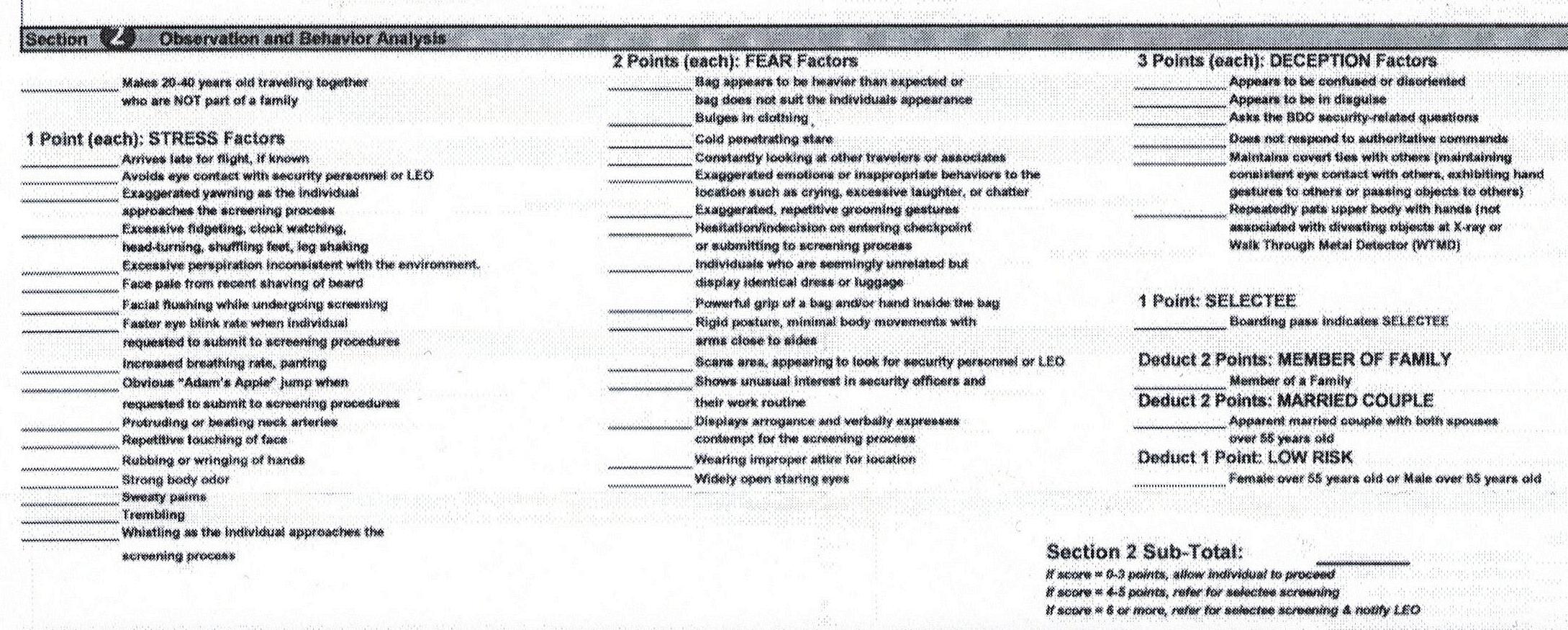 Behavior Detection Officer Resume